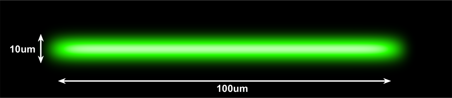 520nm (Green) laser Top Hat Projection with 100um x 10um dimensions