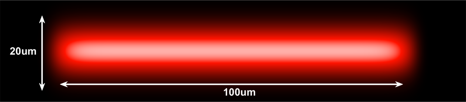 660nm (Red) laser Top Hat Projection with 100um x 20um dimensions