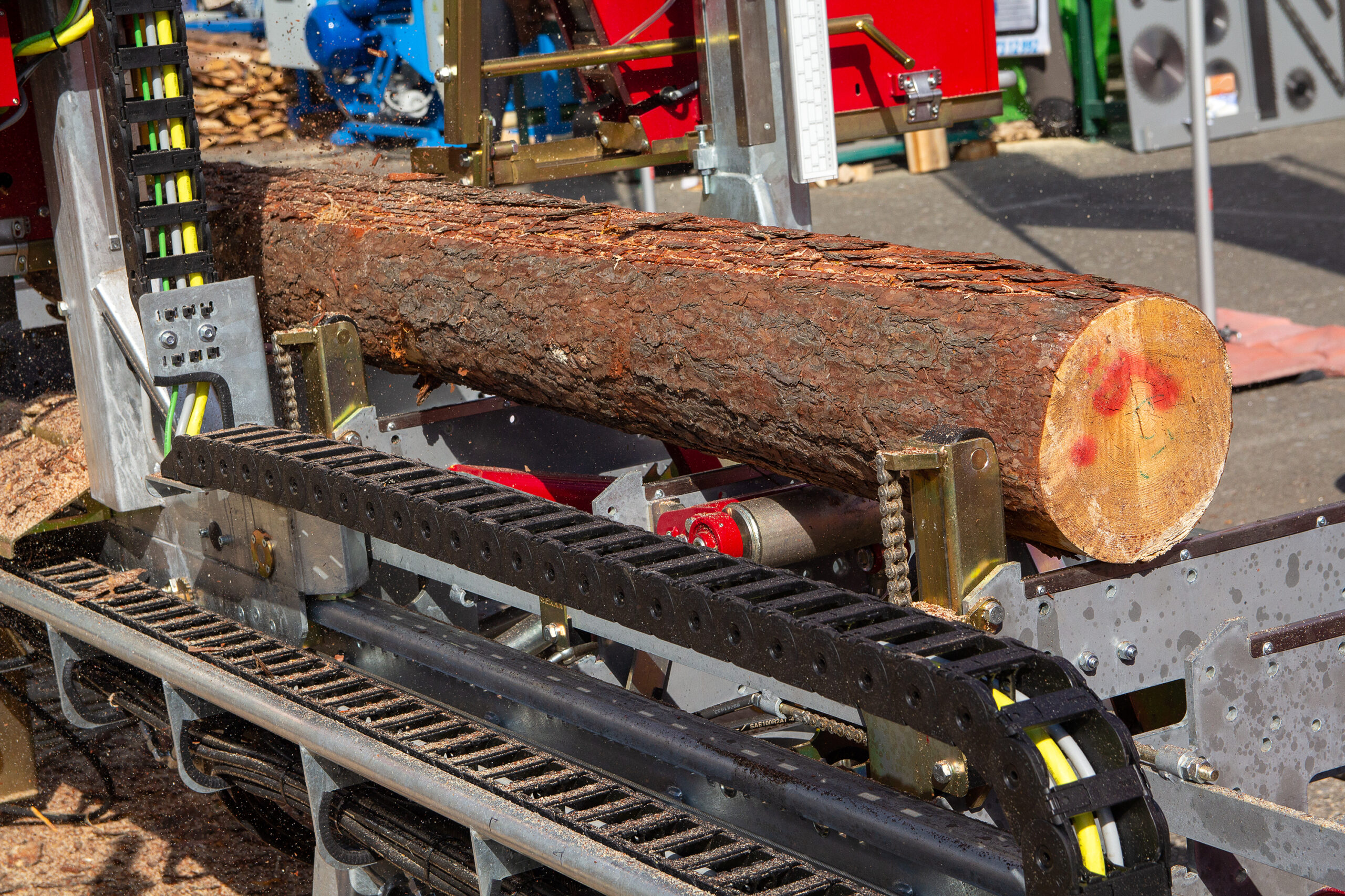 Raw lumber going through optimization using Structured light laser illumination
